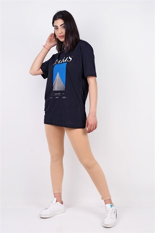 PARIS BASKILI BOYFRIEND T-SHIRT SIYAH